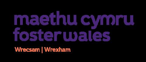 Logo testun Maethu Cymru Wrecsam, dolenni i hafan Maethu Cymru Wrecsam